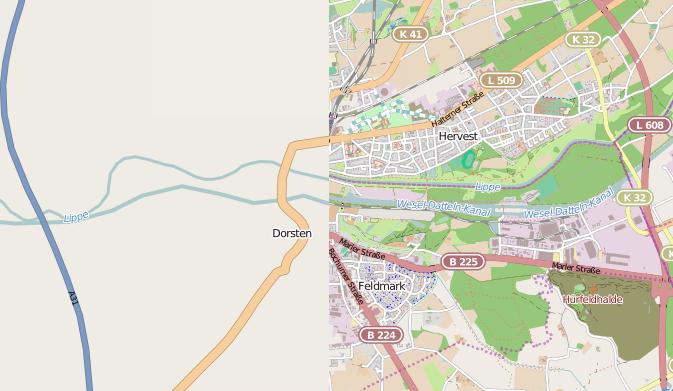 OpenStreetMap in 2007 und in 2014